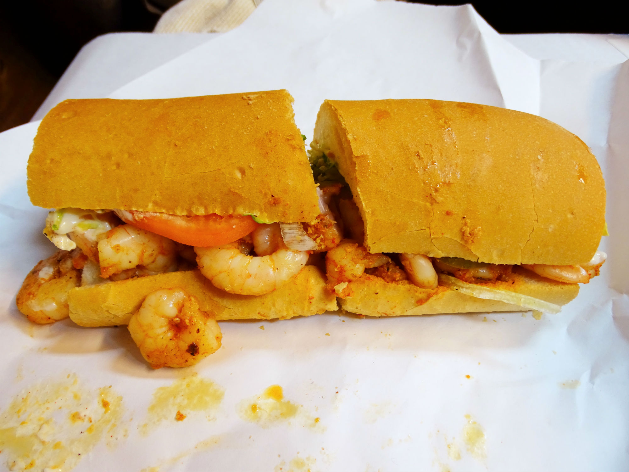 Grilled Shrimp (Prawn) Poboy, served on New Orleans French Bread